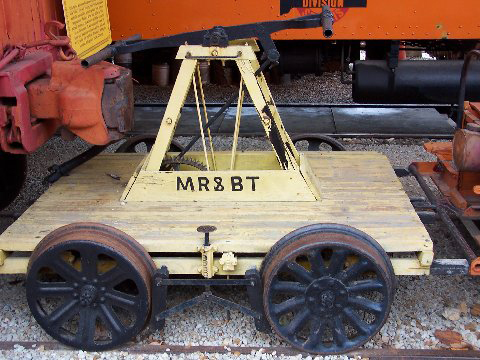 The Mississippi River And Bonne Terre (MRBT) railroad used to run 3.5 miles across the property. The rails are gone but the chat remains if you want to hike or ride it. The MRBT handcar pictured remains on exhibit at the STL Museum of Transport.